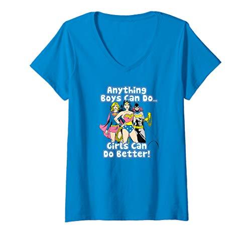 Womens Justice League Girls Can Do it Better V-Neck T-Shirt
