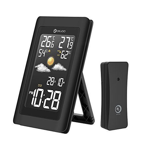 DIGOO DG-TH11300 Wireless In&Outdoor Hygrometer Thermometer Color Weather Staion, 3 Channels outdoor sensor, Wide Visual Angle With Forecast Sensor,Dual Alarm Clock Setting
