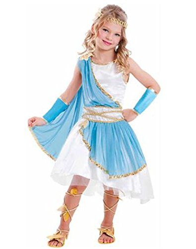 Goddess Girl Costume Child Dress Up Halloween Greek Roman Blue White Gold S 4-6 (Aphrodite Costume Child)
