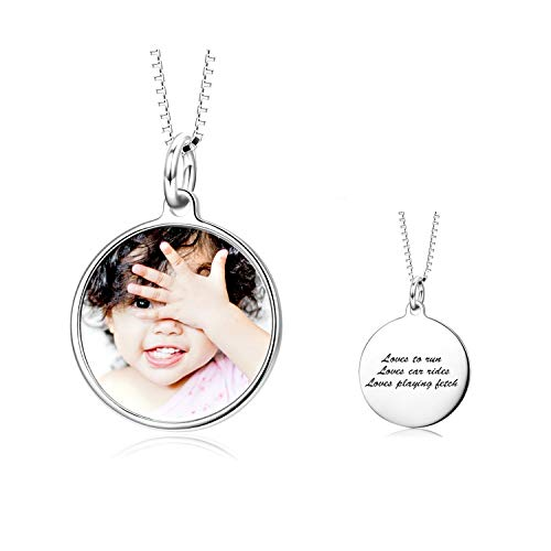 LONAGO Full Color Photo Picture Personalized 925 Sterling Silver Necklace Custom Etched Dog Tag Image Pendant with Message Name (Round/White-Gold-Plated-Copper)