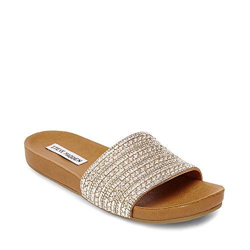 Steve Madden Women's Dazzle Flat Sandal, Rhinestone, 8.5 M US
