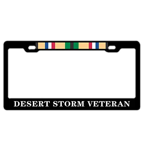 Desert Storm Veteran Black License Plate Frame Aluminum Metal, Military Veteran Car License Plate Cover Holder for Front or Back License Tag for US Standard, 2 Holes with Screws