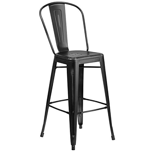 Flash Furniture 30'' High Distressed Black Metal Indoor-Outdoor Barstool with Back (Grove Pacific Furniture)