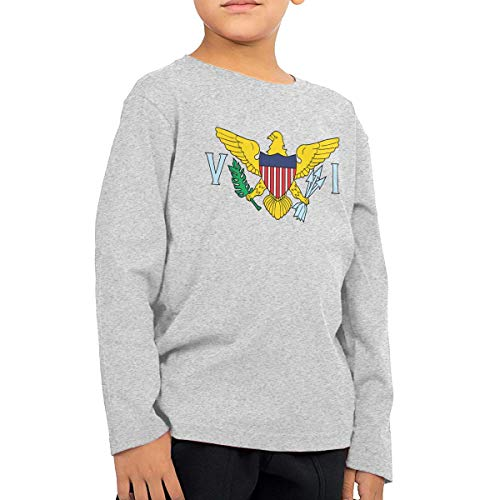 Unisex Baby United States Virgin Islands Flag Toddler's Long Sleeve Round Neck Casual Pullover T Shirt for Kid (Boys Girls) Gray -