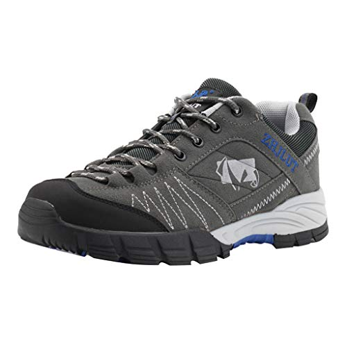 Aubbly_Shoes Men Mesh Breathable Hiking Outdoor Non-Slip Athletic Fitness Walking Fashion Casual Lightweight Climbing Shoe Grey