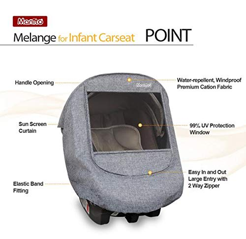 Manito Melange Infant Carseat Weather Shield (Black Grey) by Manito (Image #3)