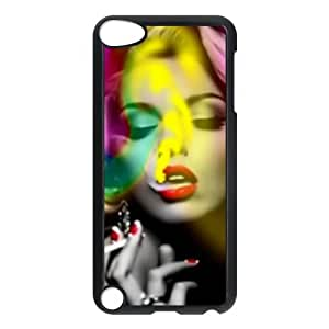 luckhappy store Custom Marilyn Monroe Smoking black plastic Case for IPod Touch 5th cover