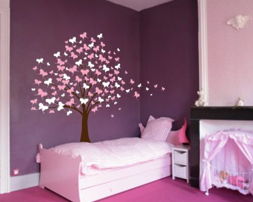 Large Wall Tree Baby Nursery Decal Butterfly Cherry Blossom 1139 (6 Feet Tall) (Soft Pink and White)
