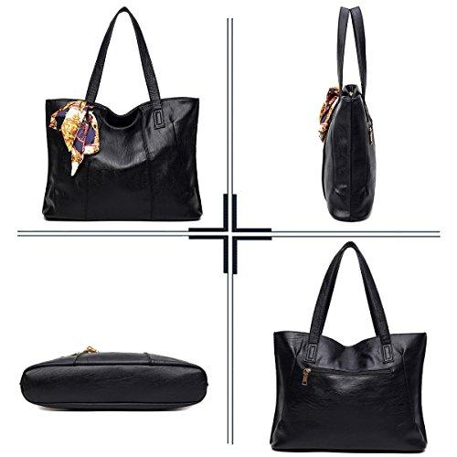 SDINAZ La bolsa de asas de los bolsos de las mujeres Cuero suave de la PU Clásico bolso de compras casual Bolso grande para mujer Gris