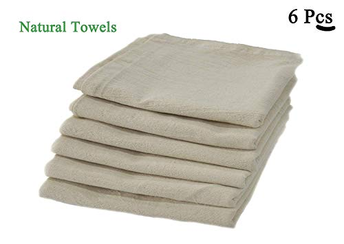 100% Premium Cotton flour sack towels - Natural. Pack of 6 ( 28 x 28 ) inches. Embossed effect on towels for High water absorbency. Easy wash and quick dry. The multi - purpose towel. Durable.