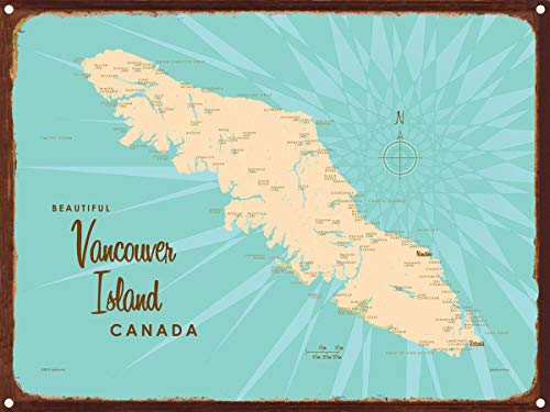 Vancouver Island, Canada Vintage-Style Map Rustic Metal Art Print by Lakebound (9