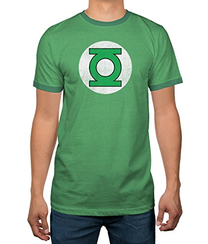 DC Comics Justice League Green Lantern Logo Licensed Ringer Mens T-Shirt (X-Large)