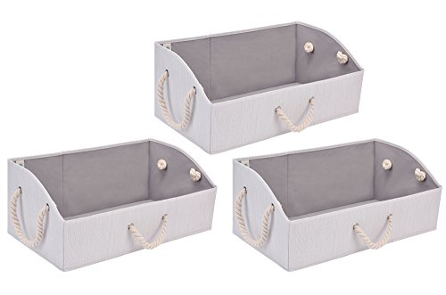 StorageWorks Storage Bins, Fabric storage Baskets, Foldable Closet Organizer Trapezoid Storage Box By, Bamboo Style, White, EX-Jumbo, 3-Pack