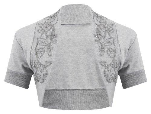 New Womens Ladies Short Sleeve Beaded Embellished Open Bolero Cardigan Shrug Top - GREY - UK12/14(M/L) - (100% Cotton)