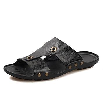 Verano Nueva moda tendencia de male-lined Zapatillas ciudad Boy Casual sandalias jóvenes al aire libre playa Zapatillas, negro, 41: Amazon.es: Deportes y ...