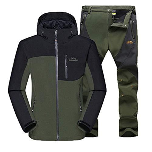 TYOPKEHAI Men Winter Warm Jacket Pants Camping Hiking Waterproof Clothing Mountain Softshell Fleece Windbreaker Trousers 5XL Army Green 5XL ()