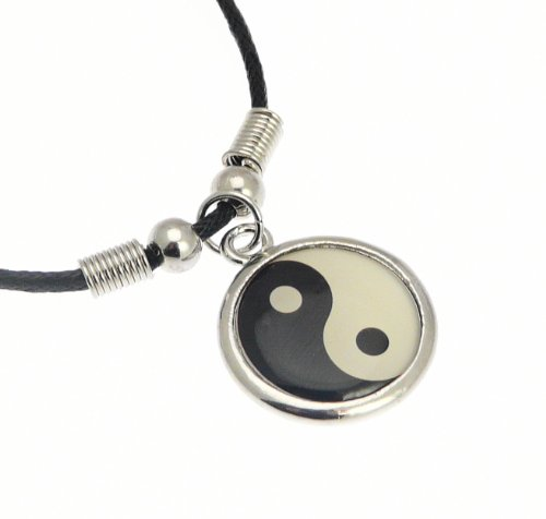 - Silver Color Metal Yin Yang Symbol Pendant on Cord Necklace - Necklace Length Approximately 42 cm