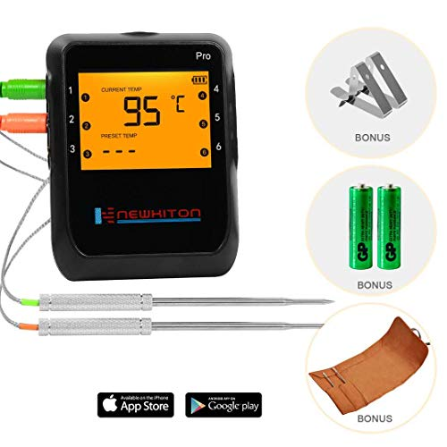 Newkiton Digital Meat Thermometer, APP Controlled Wireless Bluetooth Thermometer with 2 Stainless Steel Probes, Food Thermometer for Smoker Grill Barbecue Oven Kitchen, Support iOS & Android