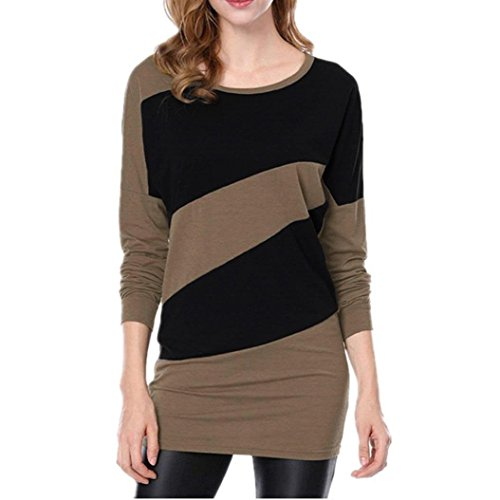 Casual Tops,Gillberry Womens Long Sleeve Shirts Color Splicing Spring Top Autumn Sweatshirt (Brown, Bust:43.3/XL)