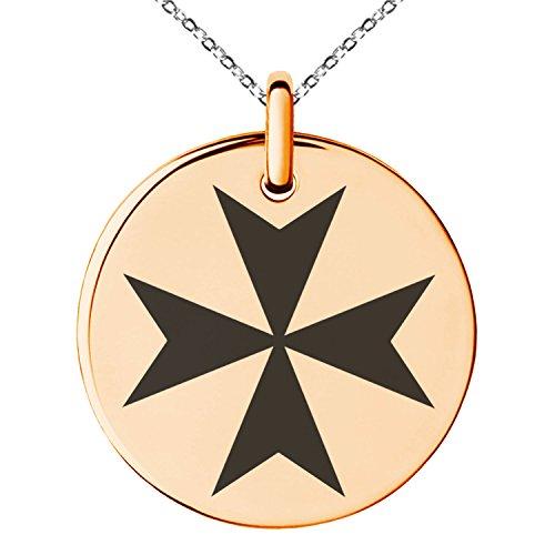 Rose Gold Plated Stainless Steel Maltese Cross Symbol Engraved Small Medallion Circle Charm Pendant (Steel Maltese Cross)