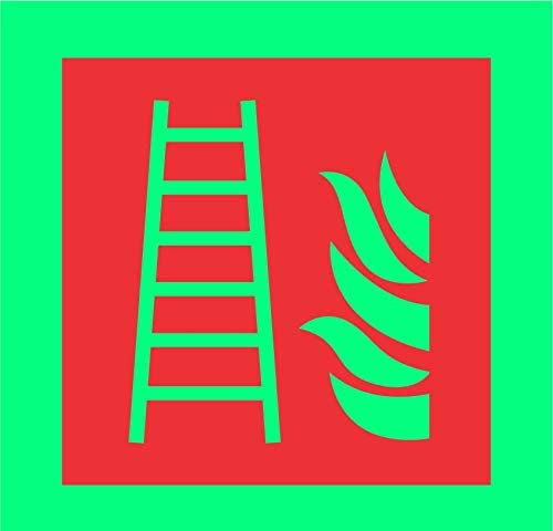 Etiqueta - Seguridad - Advertencia - Escalera de incendios Símbolo - 100 mm x 100 mm - oficina, empresa, escuela, hotel: Amazon.es: Bricolaje y herramientas