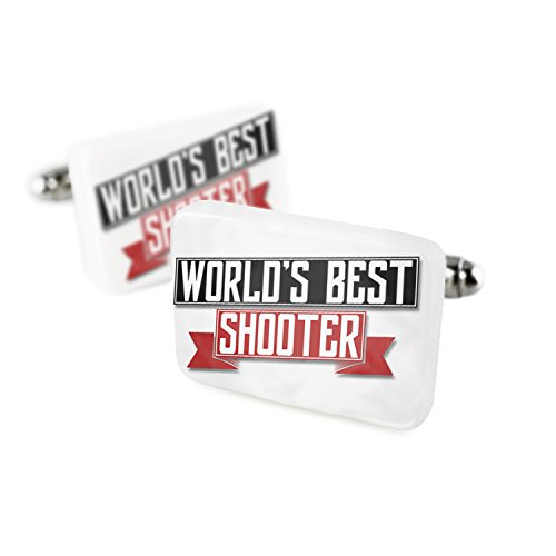 Cufflinks Worlds Best Shooter Porcelain Ceramic NEONBLOND (Ceramic Shooter)