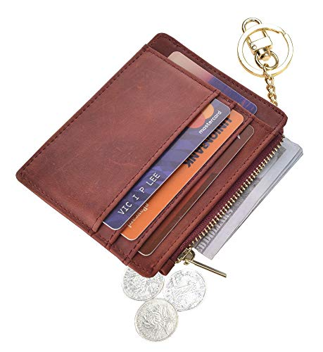 Leather Keychain Ring - Womens Slim RFID Credit Card Holder Mini Front Pocket Wallet Coin Purse Keychain (CrazyHorse Winered)