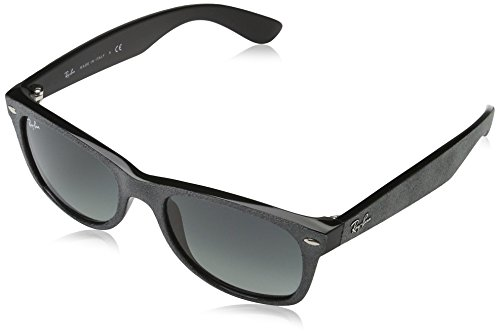Ray-Ban Women's New Wayfarer Square Sunglasses, Black/Top Grey Alcantara, 58 mm by Ray-Ban
