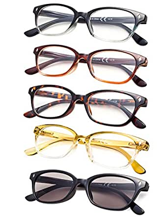 5-pack Vintage Reading Glasses with Spring Hinges Include Sunshine Readers - Multicoloured - One Size