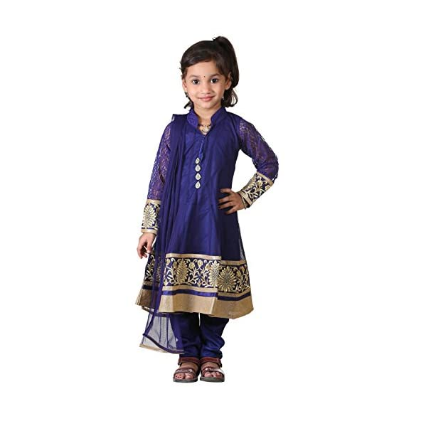 Ashwini Girl's Net Embroidery Salwar (Blue, 4-5 Years)