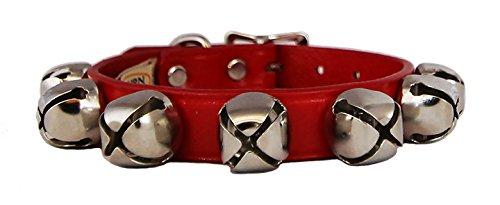Auburn Leather Red Jingle Bells Christmas Pet Dog Collar 5/8