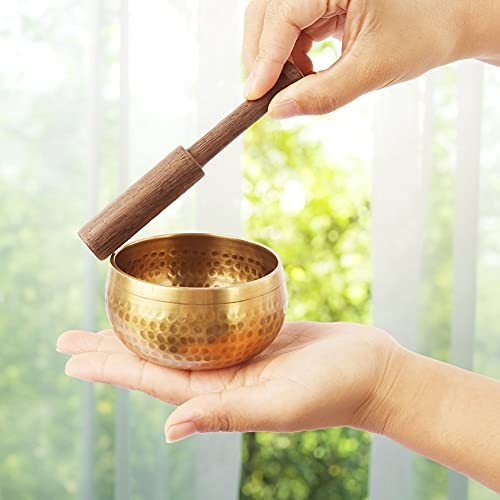 Koogel Tibetische Klangschale Set, 8cm goldene Klangtherapie Singing Bowl mit Klöppel Kissen und Behandlungssteinarmband für Entspannung Angstreduktion Yoga