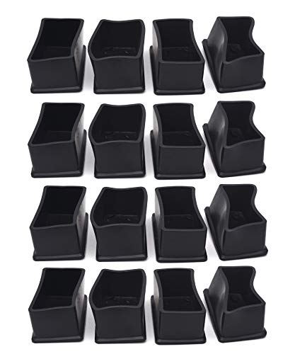 Antrader 16PCS Rectangle Shaped Rubber PVC Furniture Felt Pads Table Chair Leg Foot End Caps Covers Protectors 1