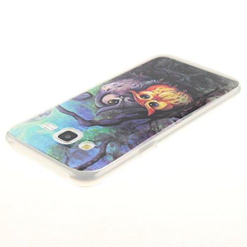 XiaoXiMi Funda Samsung Galaxy J5 SM-J500F Carcasa de Silicona Caucho Gel para Samsung Galaxy J5 SM-J500F Soft TPU Silicone Case Cover Funda Protectora Carcasa Blanda Caso Suave Flexible Caja Delgado L Pintura al óleo del Búho