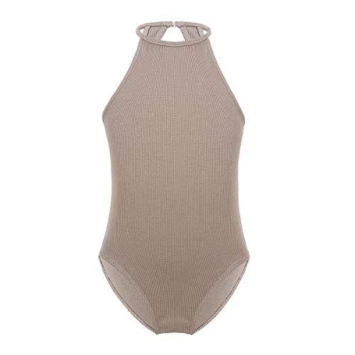 YiZYiF Girls' Fashionable Floral Lace Back Sport Tank Top Leotard Gymnastics Dance Costume (10-12, Halter Keyhole Dark Nude)