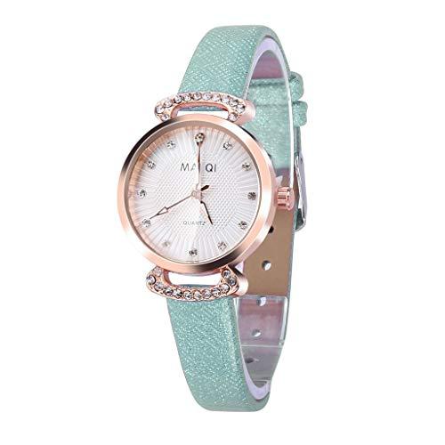 ❤SU&YU❤Fashion Embossed Sun Veins Dial Flat Glass Temperament Leather Belt Lady Watch (Green)