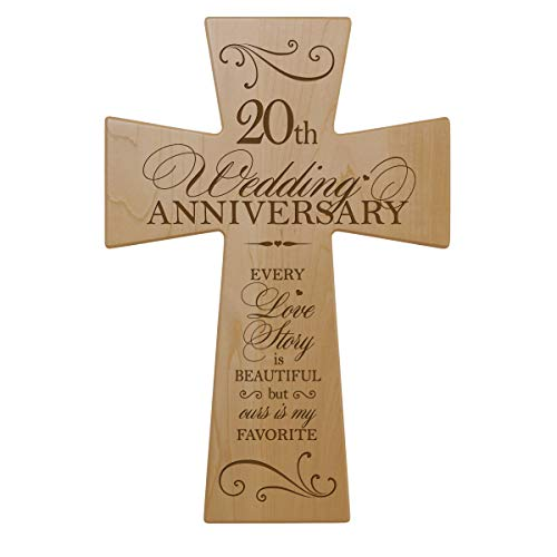 LifeSong Milestones 20th Wedding Anniversary Maple Wood Wall Cross Gift for Couple, 20 year Anniversary Gifts for Her, Twentieth Wedding Anniversary Gifts for Him 12×17