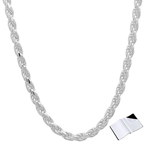 3.5mm 925 Sterling Silver Nickel-Free Diamond-Cut Rope Link Italian Chain, 22
