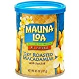 Mauna Loa Macadamia Nuts Dry Roasted macadamia Nuts with Sea Salt - 6 Cans by Mauna Loa