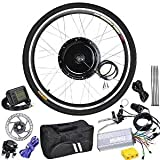 26'' Front Wheel LCD Display Electric Bicycle Motor Hub Conversion Kit 48 Volts 1000 Watts 225RPM w/ 160mm Disc Brake & Cabling Zip Ties Carrying Bag for Rim Tire Cycling Bike