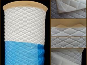(Vinyl Quilted White Fabric w/ 3/8