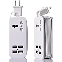 USB Power Strip Portable Travel Charger Outlets 2.1AMP 1AMP 21W 5Foot Power Supply Cord With Universal Plug Input From 100v-240v Power Sockets USB Charger Station 4 Port 5v 1A/2.1A USB Charger (White)