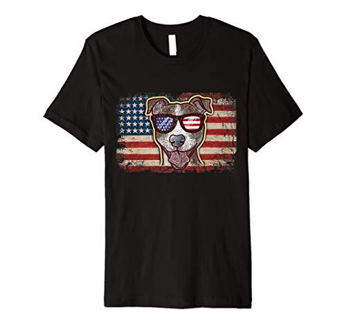 Pitbull Patriotic Dog Pit Bull Patriot Gift American flag Premium T-Shirt ()