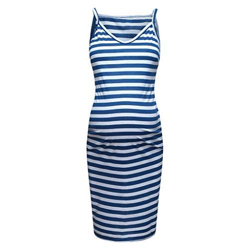 (Forthery Maternity Dress,Hot Sales Sleeveless Striped Print Breastfeeding Sundress Pregnancy Summer Dress(Blue,Medium))