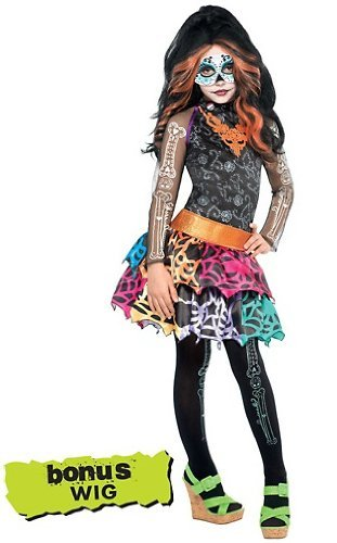 X-Large Monster High Skelita Calaveras Costume with Wig XL 14-16 -