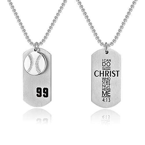 Godcow Men's Baseball Player No.99 Cross Necklace I Can Do All Things Bible Verse Stainless Steel Pendant (Silver)