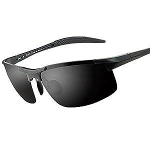 Duco Men's Sports Style Polarized Sunglasses Driver Glasses 8177S (Black Frame,Gray Lens)