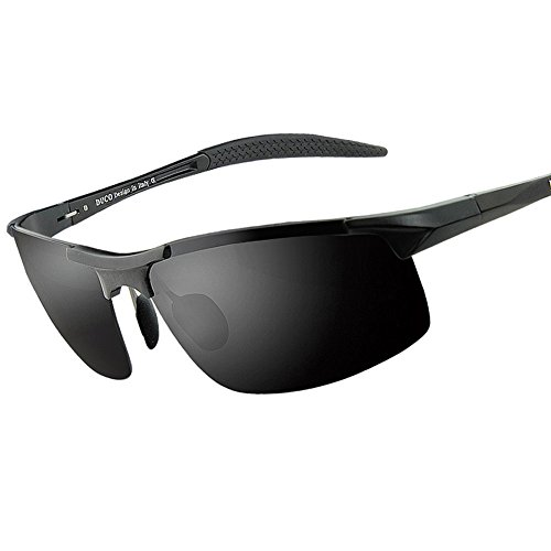 Duco Men's Sports Style Polarized Sunglasses Driver Glasses 8177S (Black Frame,Gray Lens)