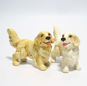 Golden Retriever Dog Ceramic Figurine Salt Pepper Shaker C00002 Ceramic Handmade Dog Lover Gift Collectible Home Decor Art and Crafts