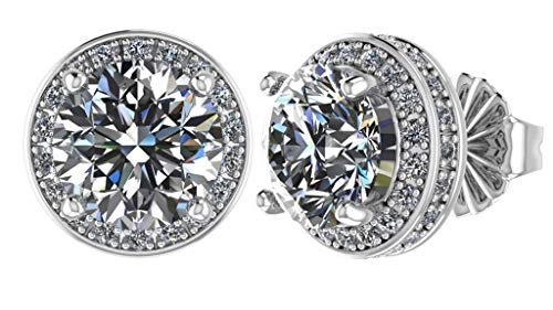 (NANA Sterling Silver & 14k post Swarovski CZ Round Halo Stud Earrings- 6.5mm-2.50cttw -Platinum Plated)
